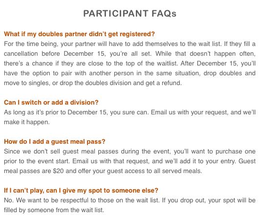 Longhorn Open Racquetball Tournament FAQ