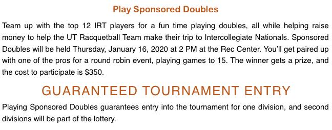 2020 Longhorn Open Racquetball Tournament